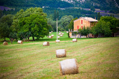 Wiejski krajobraz z gospodarstwa rolnego i słomy belami Fotografia Stock