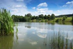 Wiejski krajobraz z jeziorem Obraz Stock