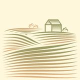 Wiejski krajobraz z polami i domem ilustracja wektor