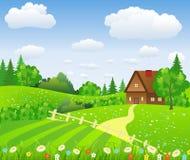 Wiejski krajobraz z polami i wzgórzami Zdjęcia Royalty Free