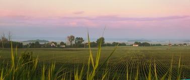 Wiejski krajobraz z polem Zdjęcie Royalty Free
