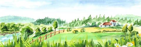 Wiejski krajobraz z rzeką i gospodarstwem rolnym Akwareli ręka rysująca horyzontalna ilustracja ilustracji