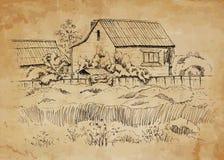 Wiejski krajobraz z starym domem wiejskim Zdjęcia Stock