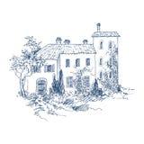 Wiejski krajobraz z starym domem wiejskim i ogródem szczotkarski węgiel drzewny rysunek rysujący ręki ilustracyjny ilustrator jak royalty ilustracja