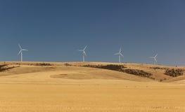 Wiejski krajobraz z wiatrowymi generatorami. Południowy Australia. Fotografia Royalty Free