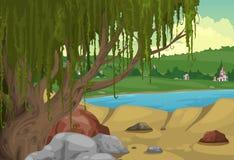 Wiejski krajobrazowy tło Obrazy Royalty Free