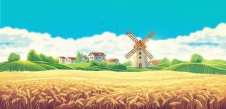Wiejski lato krajobraz z młynem ilustracji