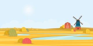 Wiejski lato krajobraz z starym wiatraczkiem Zdjęcia Royalty Free