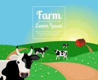 Wiejski lub rolny krajobraz z krowami ilustracja wektor