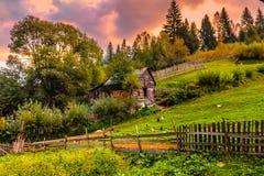 Wiejski Rumuński krajobraz w górach Obraz Stock