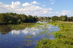 Wiejski rzeka krajobraz Obrazy Royalty Free