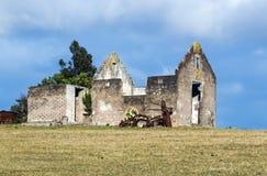 Wiejski Stary Derelect Rolny budynek na Suchym zima krajobrazie Obraz Stock
