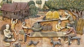 Wiejski thai życie kamienia malowidło ścienne Obraz Royalty Free