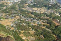 Wiejski widok z lotu ptaka od samolotu fotografia stock