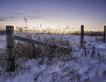 Wiejski winterscape wschód słońca Zdjęcie Royalty Free