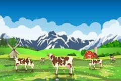 Wiejski wschodu słońca krajobraz z krowami i gospodarstwem rolnym ilustracja wektor