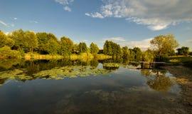 Wiejski zmierzchu jeziora krajobraz Fotografia Stock