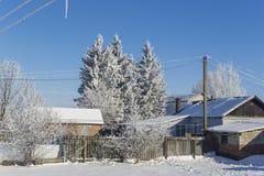 Wiejskie budowy w zimie Zdjęcie Royalty Free