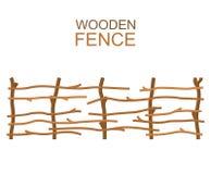 Wiejskie drewniane rolne gałąź fechtują się nieociosaną drewnianą budowę royalty ilustracja