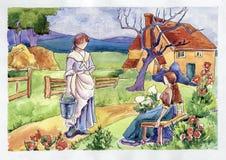 Wiejskie życia dwa dziewczyny royalty ilustracja
