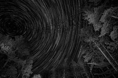 Wiejskiego Michigan Kukurydzanego pola gwiazdy śladu Wibrująca noc Zdjęcia Royalty Free