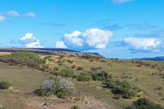 Wiejskiej Suchej zimy roślinności Chmurnego nieba pustkowia Błękitny Landscap Obrazy Stock