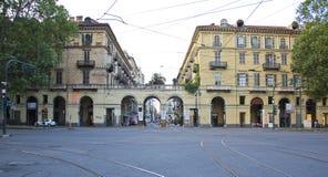 Wieków domy w historycznym centrum Turyn Zdjęcie Stock