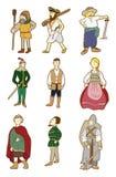 wieków kreskówki środkowi ludzie ilustracji