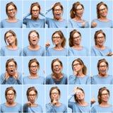 Wiek średni kobieta, różny emocja kolaż nad błękitnym tłem fotografia stock