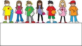 Wiek dojrzewania chłopiec dziewczyn sztandar lub chodnikowiec Zdjęcia Stock