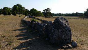 wiek grzebalnej izbie mols Denmark miejsca kamienia wielkie Wiking szefie Zdjęcie Stock