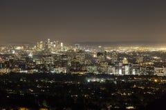 Wieka Beverly Hills przy nocą z śródmieściem Los Angele i miasto Fotografia Royalty Free