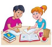 Wieki dojrzewania pracuje Na pracie domowej Przy porą lunchu Fotografia Royalty Free