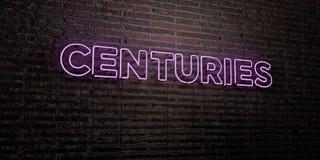 WIEKI - Realistyczny Neonowy znak na ściana z cegieł tle - 3D odpłacający się królewskość bezpłatny akcyjny wizerunek royalty ilustracja
