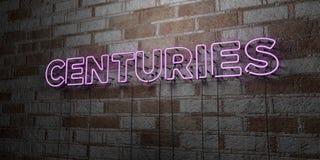 WIEKI - Rozjarzony Neonowy znak na kamieniarki ścianie - 3D odpłacająca się królewskości bezpłatna akcyjna ilustracja royalty ilustracja