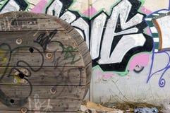 Wiel en graffiti Royalty-vrije Stock Foto