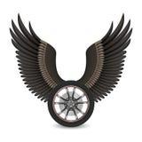 Wiel en vleugels vector illustratie
