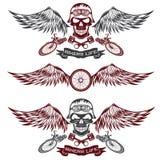 wiel, fiets en schedels met vleugels vector illustratie