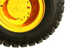 Wiel van de zware de bouwbulldozer van gele kleur Royalty-vrije Stock Afbeelding