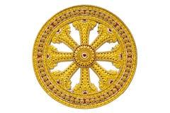 Wiel van dhamma van boeddhisme stock afbeeldingen