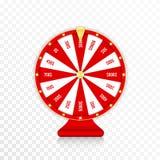 Wiel van fortuin, spinnend fortuinwiel in rode en gouden kleuren Realistisch rouletteontwerp voor loterij, casinospelen stock afbeeldingen