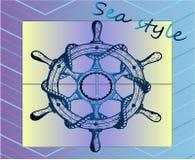 Wiel van het schets het blauwe schip ` s - overzeese stijl Stock Afbeelding