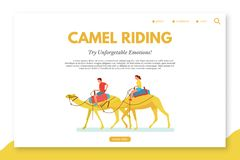Wielbłądzi jeździecki płaski wektorowy lądowanie strony szablon royalty ilustracja