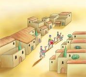 Wielbłądzia karawana i stary arabski miasteczko Zdjęcie Royalty Free