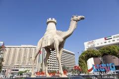 Wielbłądzia statua Dubaj zatoczką Zdjęcie Stock