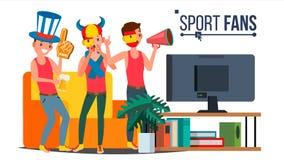 Wielbiciele Sportu Grupują wektor Doping Dla sport drużyny Dopatrywanie gry dopasowanie Na TV Odosobniona płaska kreskówki ilustr ilustracja wektor