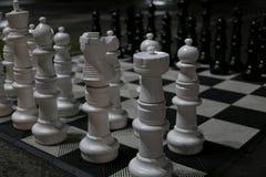 Wielcy biali i czarni szachowi kawałki z Fotografia Stock