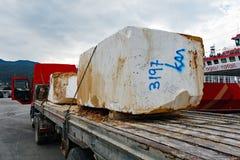 Wielcy bloki Quarried marmur, Thassos, Grecja Obraz Stock