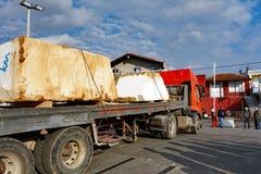 Wielcy bloki Quarried marmur, Thassos, Grecja Fotografia Stock