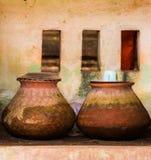 Wielcy gliniani garnki w Bagan, Myanmar Odbitkowa przestrzeń dla teksta zdjęcia royalty free